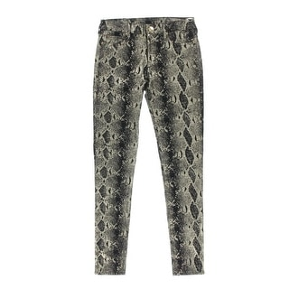 True Religion Womens Halle Metallic Mid-Rise Colored Skinny Jeans