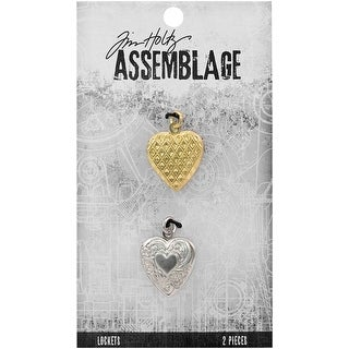 Tim Holtz Assemblage Lockets 2/Pkg-Hearts