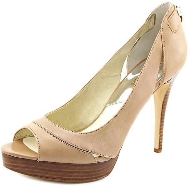 Michael Michael Kors Hamilton Open Toe Women Leather Brown Platform Heel