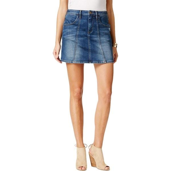 Buffalo David Bitton Womens Caprice Denim Skirt A-Line Distressed