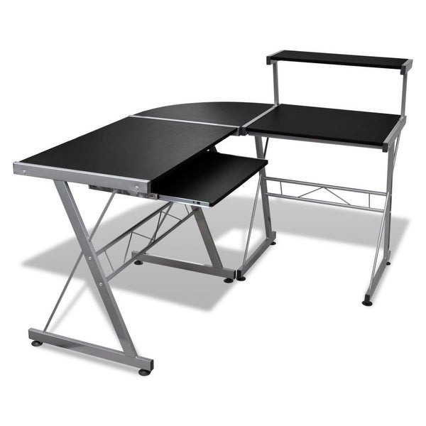 vidaXL Computer Desk Workstation With Pull Out Keyboard Tray Black. Opens flyout.