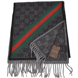 NEW Gucci Men's Nikky Wool Angora Red Green Web GG Guccissima Scarf Muffler