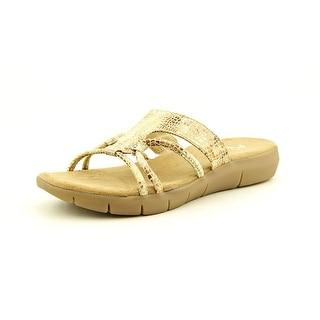 A2 By Aerosoles Wip Currrent Women Open Toe Canvas Tan Slides Sandal