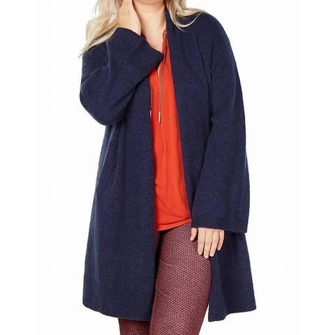 MICHAEL Michael Kors Women's Sweater Blue Size 2X Plus Cardigan