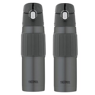 Thermos Vacuum Insulated 18 Oz Hydration Water Bottle (Charcoal Black, 2-Pack)