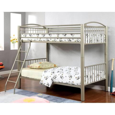 Furniture of America Laji Modern Gold Twin over Twin Metal Bunk Bed