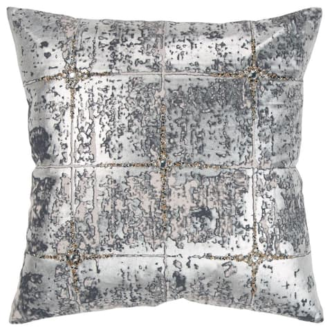 """Rizzy Home Silver Abstract 20""""X 20"""" Decorative Pillow"""