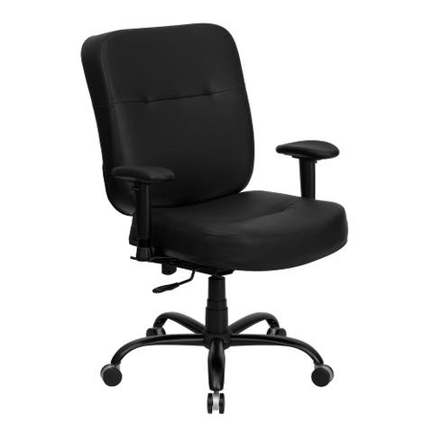 Big & Tall 400 lb. Rated High Back Black LeatherSoft Executive Ergonomic Chair