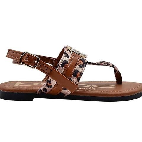 Bebe Girls Big Kid Leopard Print T-Strap Thong Slide Sandal With Adjustable Back Strap