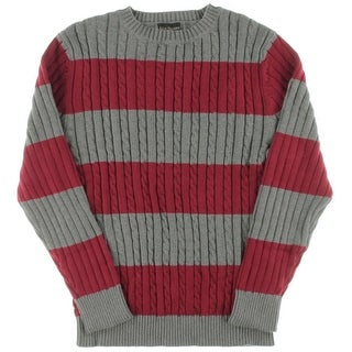 Alex Stevens Mens Cable Knit Rugby Crewneck Sweater