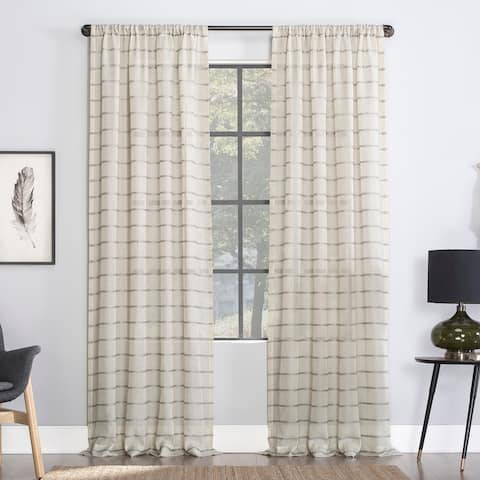 Clean Window Twill Stripe Anti-Dust Linen Blend Sheer Curtain Panel, Single Panel
