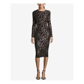 Link to BETSY & ADAM Black Long Sleeve Below The Knee Sheath Dress  Size 2 Similar Items in Petites