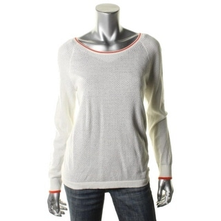 Tommy Hilfiger Womens Perforated Contrast Trim Pullover Sweater - L