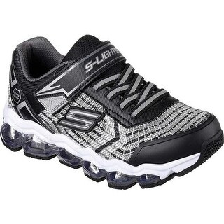 Skechers Boys' S Lights Turbo Flash Light Up Sneaker Black/Silver