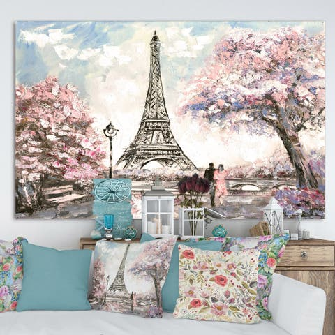 Designart Eiffel with Pink Flowers Landscape Canvas Art Print