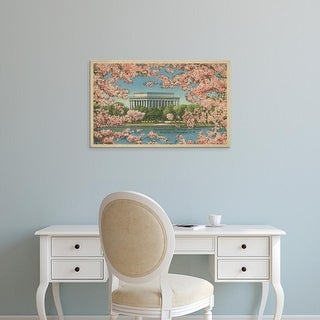Easy Art Prints Unknown's 'Lincoln Memorial & Cherry Blossoms' Premium Canvas Art