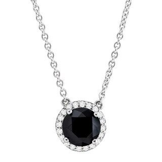 Black & White Cubic Zirconia Halo Necklace in Sterling Silver