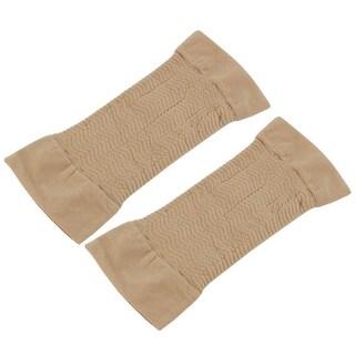 Women Nylon Zig Zag Design Stretchy Compression Arm Elbow Sleeves Beige