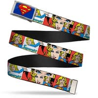 Superman Fcg Blue  Chrome Supergirl Panels White Webbing Web Belt
