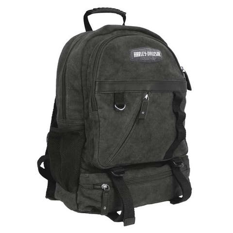 """Harley-Davidson C4 Collection HD Utility Backpack, Cotton Canvas w/ Leather Trim - 12.625"""" x 18"""" x 5.875"""""""
