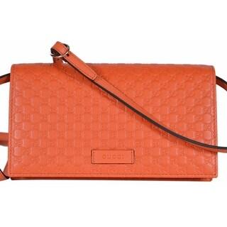 """Gucci 466507 Orange Leather Micro GG Guccissima Crossbody Wallet Bag Purse - 8"""" x 4.5"""" x 1.5"""""""