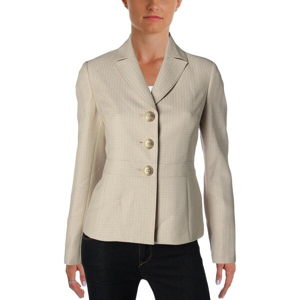 Le Suit Womens Nantucket Three,Button Blazer Textured Long Sleeves