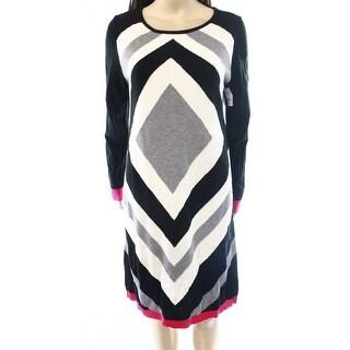 Eliza J NEW Black Women's Size Medium M Abstract Print Sweater Dress