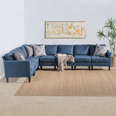 Zahra 7-piece Fabric Sectional Sofa Set by Christopher Knight Home