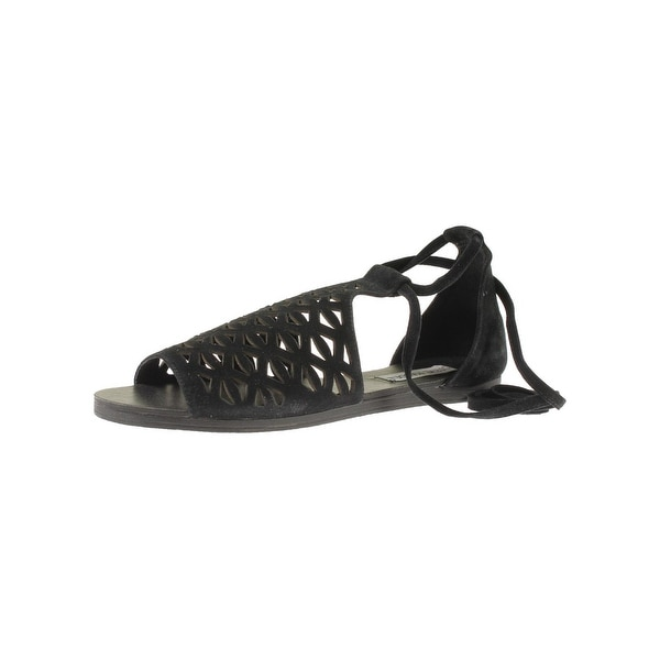 Steve Madden Womens Excesive Flat Sandals Suede Laser Cut