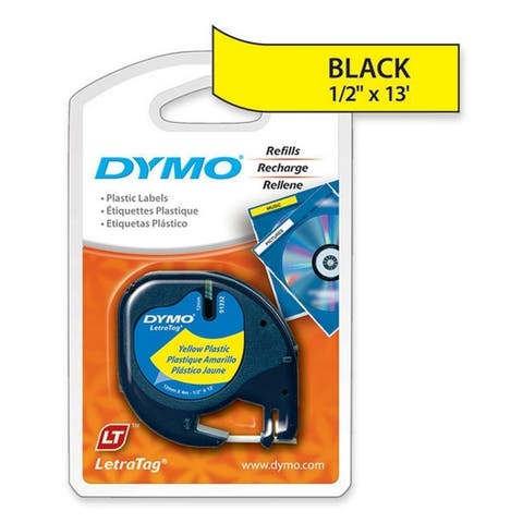 Dymo 91332 1/2inch (12 mm) plastic letratag tape - Yellow