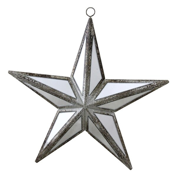 """5.75"""" Mirrored Five Point Star Christmas Ornament - silver"""