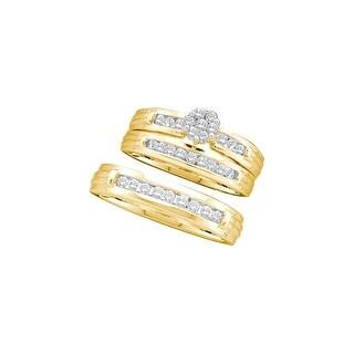 1/2Ctw Diamond Flower Trio Set 14K Yellow-Gold - White I-J