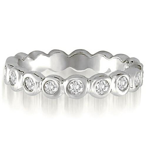 0.65 cttw. 14K White Gold Round Cut Bezel Set Diamond Eternity Ring