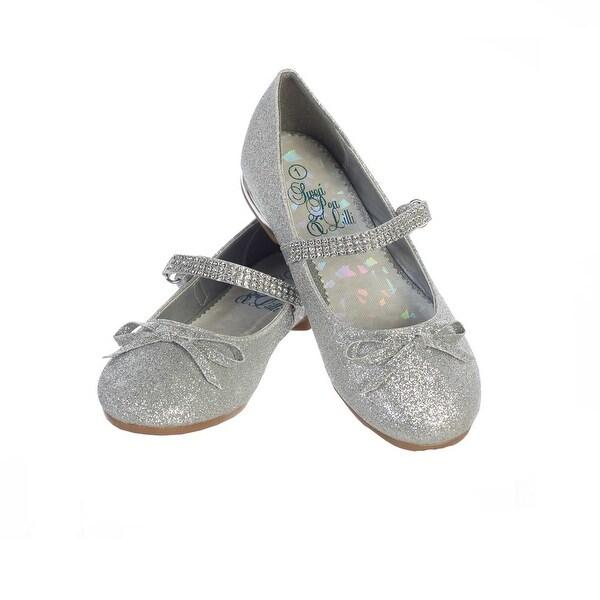 6142e6d3f6 Girls Silver Glitter Rhinestone Strap Summer Dress Shoes
