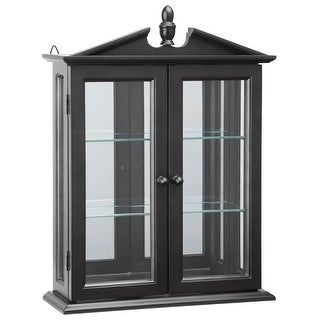 Design Toscano Amesbury Manor Hardwood Wall Curio Cabinet: Ebony Black Finish