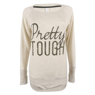 Ideology Women's Long Sleeve Open Back Sweater Top - flaxen heather