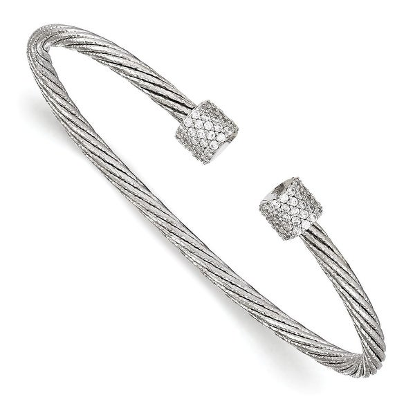 Italian Sterling Silver Rhodium-plated CZ Flexible Cuff Bangle