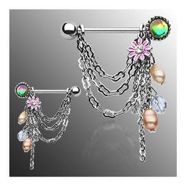 """Surgical Steel Chain Drop Dangle with Pearl and Flower Nipple Shield- 14GA 3/4"""" Long (Sold Individually)"""