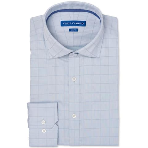Vince Camuto Mens Twill Check Button Up Dress Shirt