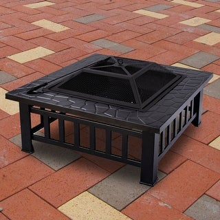 Costway Metal Outdoor Metal Brazier Patio Square Stove Fire pit
