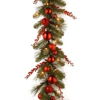 "9' x 12"" Pre-Lit Red Mixed Sprigs and Ball Artificial Christmas Garland - Warm White LED Lights"