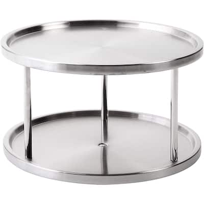 Jiallo Stainless Steel 2-Tier Turntable Lazy Susan, Spice Rack