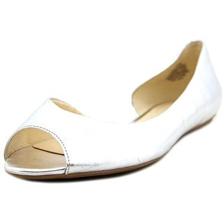Nine West Bachloret Women Peep-Toe Leather Silver Flats