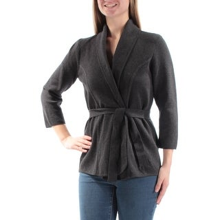 Womens Gray 3/4 Sleeve Open Sweater Size M