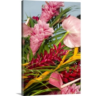 """""""Bouquet of tropical flowers"""" Canvas Wall Art"""