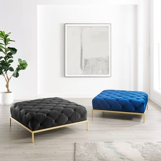 Link to Corvus Kamdon Tufted Velvet Chesterfield Square Ottoman with Gold leg Similar Items in Ottomans & Storage Ottomans