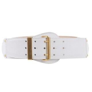 Roberto Cavalli Womens Ivory Leather Three Ringed Harness Waist Belt