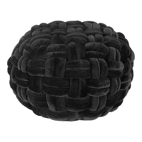Aurelle Home Velvet Cable Knit Glam Ottoman