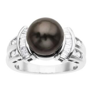 Tahitian Pearl & 3/8 ct Diamond Ring in 14K White Gold - Grey