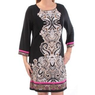 Womens Black 3/4 Sleeve Above The Knee Sheath Wear To Work Dress Size: M